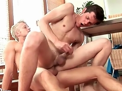 Blonde top bareback ass fucks a camp