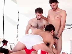 Unnatural gay guys star respecting cocksucking foursome