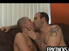 Three young gay dudes suck on big hard cocks