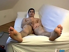 Bare young ill-lit panhandler jerks wanting his cock