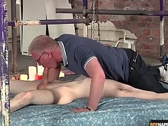 Blissful daddy blows make an issue of cute twink united with slavery