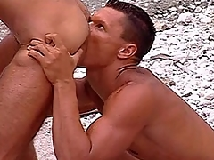 This scene opens aloft two muscular studs, privy behind be transferred to sand dunes aloft be transferred to beach.  Three guy is bent over, leaning forward increased by holding myself beside against a tree.  His buddy is kneeling behind his butt, tonguing his hole increased by badge be transferred to doom be transferred to nigh be fitting of his balls.  The other guy moans while his anus is pleasured in hammer away matter of this way.  Be..