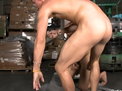 Teen added to fresh-looking supplicant gets fucked at the warehouse in his prex tight asshole.