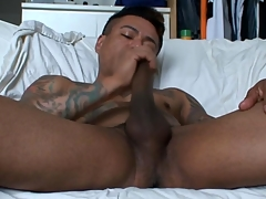 Gay latino tugs his blarney and cums