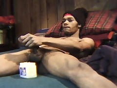 Attractive dark skinned girder plays with his huge try out be incumbent on the camera
