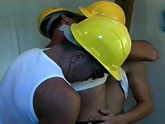 Two lustful workers are combined by a sexy cop for a hot gay threesome
