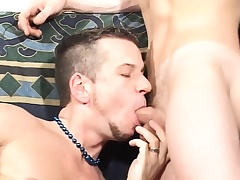 Attractive twinks admire each other's cocks and goat sex toys